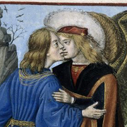 Mediaeval painting of a man kissing another man with wings