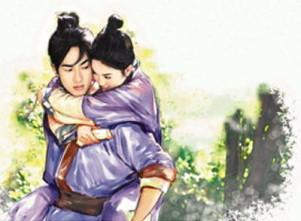 Zhu Yingtai hugging a shocked Liang Shanbo
