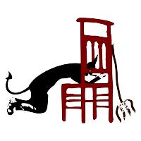 Devil kneeling before chair for forgiveness