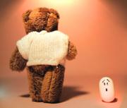 Teddy bear walking away from shocked mint